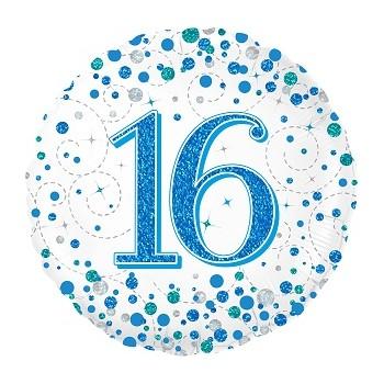 Palloncino Mylar 45 cm. 16° Sparkling Fizz Birthday Blue Holographic