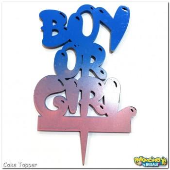 Cake Topper plexiglas decorato - Boy or Girl. cm 8 X h.12,5