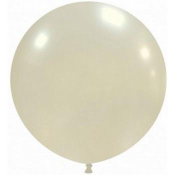 Palloncino in Lattice Rotondo 48 cm. Perla Metallizzato