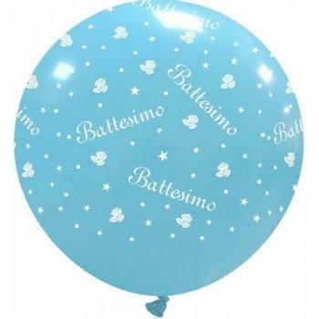 Palloncino in Lattice Rotondo 80 cm. Stampa Battesimo Bimbo