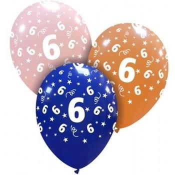 Palloncino in Lattice Rotondo 30 cm. Stampa 6° Compleanno Assortiti