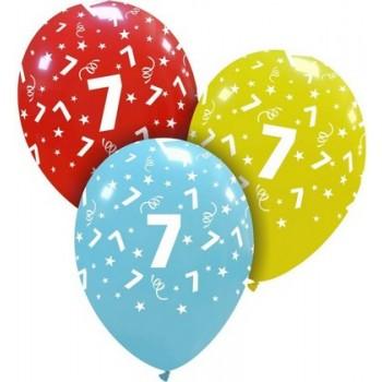 Palloncino in Lattice Rotondo 30 cm. Stampa 7° Compleanno Assortiti