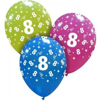 Palloncino in Lattice Rotondo 30 cm. Stampa 8° Compleanno Assortiti