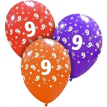 Palloncino in Lattice Rotondo 30 cm. Stampa 9° Compleanno Assortiti