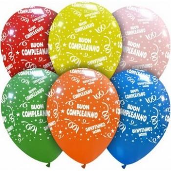 Palloncino in Lattice Rotondo 30 cm. Stampa Buon Compleanno Assortiti