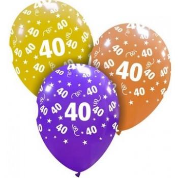 Palloncino in Lattice Rotondo 30 cm. Stampa 40° Compleanno Assortiti