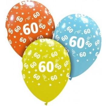 Palloncino in Lattice Rotondo 30 cm. Stampa 60° Compleanno Assortiti