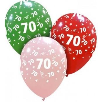 Palloncino in Lattice Rotondo 30 cm. Stampa 70° Compleanno Assortiti