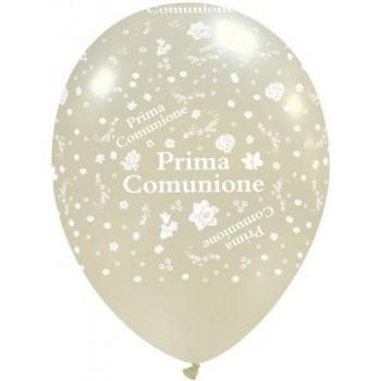Palloncino in Lattice Rotondo 30 cm. Stampa Comunione Bianco Metallizzato