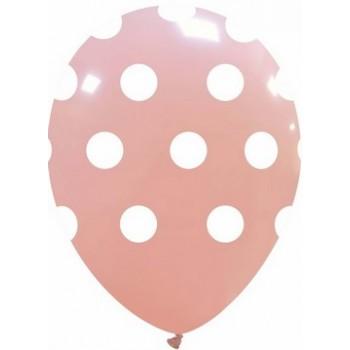 Palloncino in Lattice Rotondo 30 cm. Stampa Pois Rosa Macaron