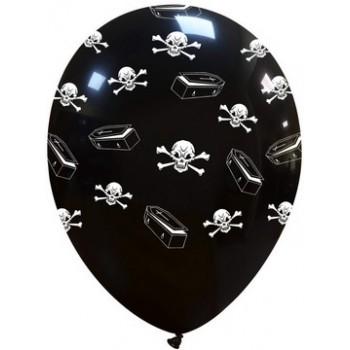 Palloncino in Lattice Rotondo 30 cm. Halloween Stampa Teschi
