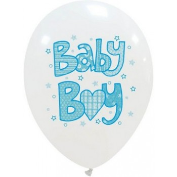 Palloncino in Lattice Rotondo 30 cm. Stampa Baby Boy