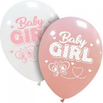 Palloncino in Lattice Rotondo 30 cm. Stampa Baby Girl Farfalla