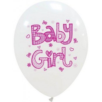 Palloncino in Lattice Rotondo 30 cm. Stampa Baby Girl
