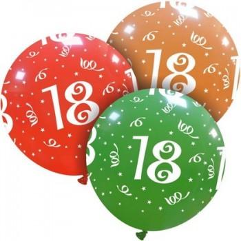 Palloncino in Lattice Rotondo 80 cm. Stampa 18° Compleanno Assortiti