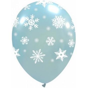Palloncino in Lattice Rotondo 30 cm. Stampa Fiocchi di Neve Azzurro