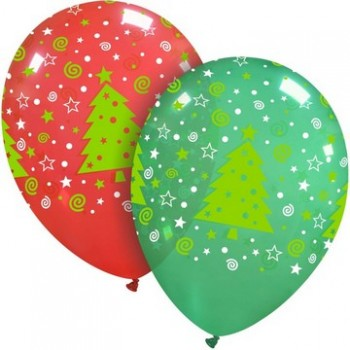 Palloncino in Lattice Rotondo 30 cm. Stampa Natale Globoi Assortiti