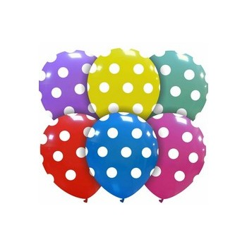 Palloncino in Lattice Rotondo 12,5 cm. Stampa Pois Assortiti