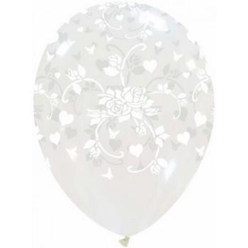 Palloncino in Lattice Rotondo 30 cm. Stampa Cuori e Rose Trasparente
