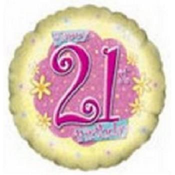 Palloncino Mylar 45 cm. 21° Birthday Flower Power