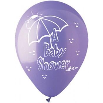 Palloncino in Lattice Rotondo 30 cm. Stampa Baby Shower Ducky Rosa / Azzurri