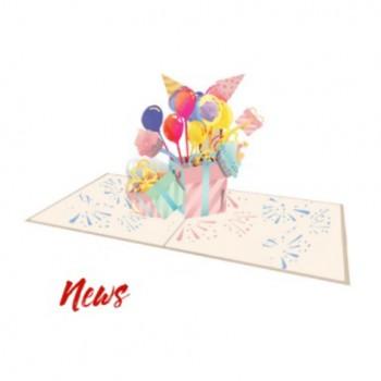 Biglietti Auguri Origami - Pacco e Palloncini 15,5 x 15,5 cm.