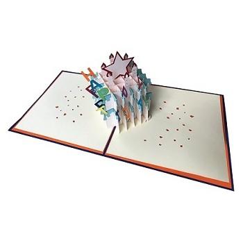 Biglietti Auguri Origami - Torta Happy Birthday 15,5 x 15,5 cm.