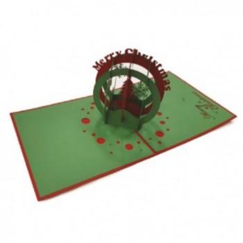 Biglietti Auguri Origami - Sfera di Natale 12,5 x 12,5 cm.