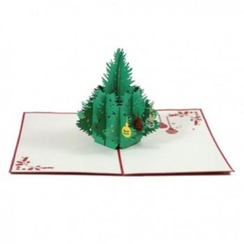 Biglietti Auguri Origami - Albero di Natale con palle 12,5 x 12,5 cm.