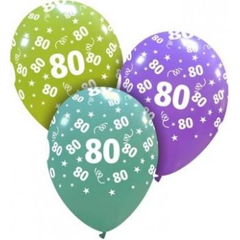Palloncino in Lattice Rotondo 30 cm. Stampa 80° Compleanno Assortiti