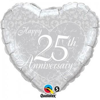 Palloncino Mylar 45 cm. 25° Happy Anniversary Silver