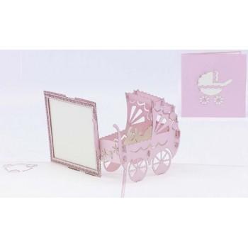 Biglietti Auguri Origami - Carrozzina Rosa 15,5 x 15,5 cm.
