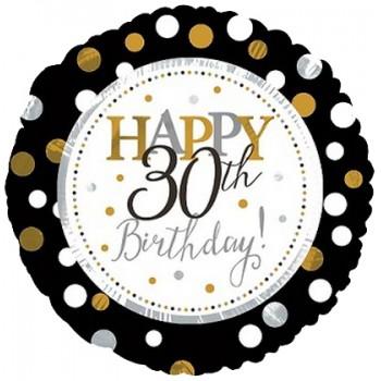 Palloncino Mylar 45 cm. 30° Age Happy Birthday