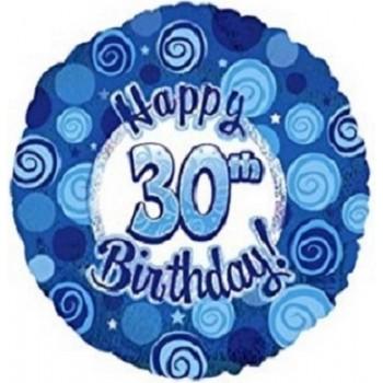 Palloncino Mylar 45 cm. 30° Happy Birthday Blue Dazzeloon