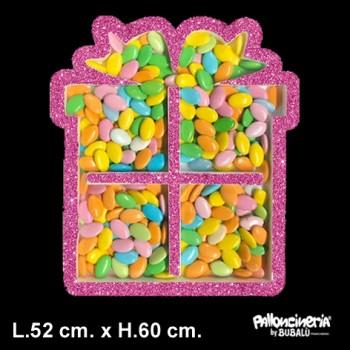 Contenitore Pacco regalo porta palloncini o caramelle Bianco profondità 8 cm. L.52 cm. H.60 cm. + SAGOMA INTERNA OMAGGI