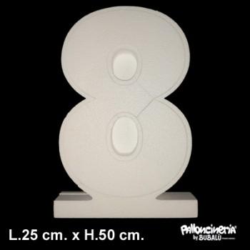 Lettera o Numero singolo Bianco, autoportante profondità 5 cm. L.25 cm. H.50 cm.