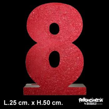 Lettera o Numero singolo Glitterato, autoportante profondità 5 cm. L.25 cm. H.50 cm. personalizzabile colore o glitter