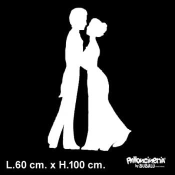 Sagoma Bianca lui & lei autoportante personalizzabile profondità 10 cm. max - L.60 cm. max - H.100 cm.