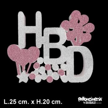 Sagoma HBD Glitter autoportante personalizzabile profondità 5 cm. max - L.25 cm. max - H.20 cm.