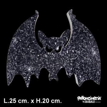 Sagoma Pipistrello Glitterato autoportante personalizzabile profondità 5 cm. max - L.25 cm. max - H.20 cm.