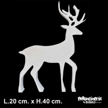 Sagoma Renna Bianca autoportante personalizzabile profondità 5 cm. max - L.20 cm. max - H.40 cm.