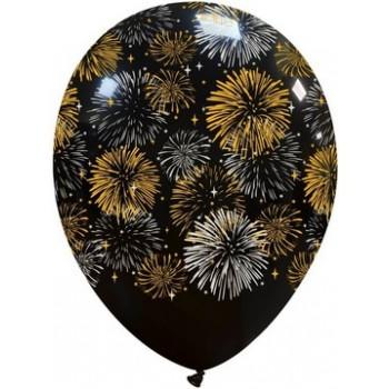 Palloncino in Lattice Rotondo 30 cm. Stampa Anno Nuovo Fuoco d'Artificio