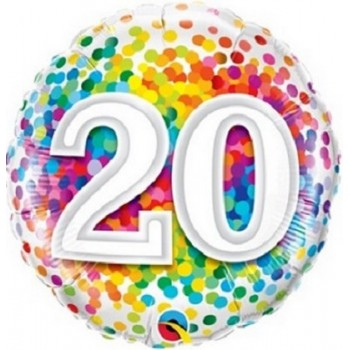 Palloncino Mylar 45 cm. 20° Rainbow Confetti