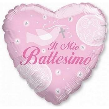 Palloncino Mylar 45 cm. Bimba - Il Mio Battesimo Girl Dove Heart