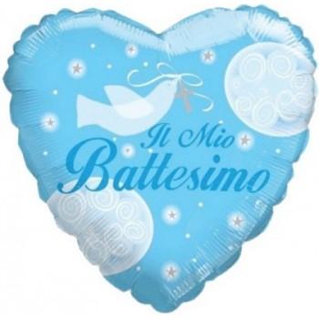 Palloncino Mylar 45 cm. Bimbo - Il Mio Battesimo Boy Dove Heart