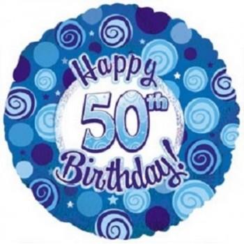 Palloncino Mylar 45 cm. 50° Happy Birthday Blue Dazzeloon