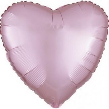 Palloncino Mylar 45 cm. Cuore Satinato Rosa Chiaro