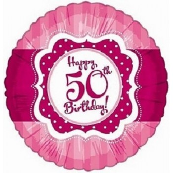 Palloncino Mylar 45 cm. 50° Happy Birthday Pink