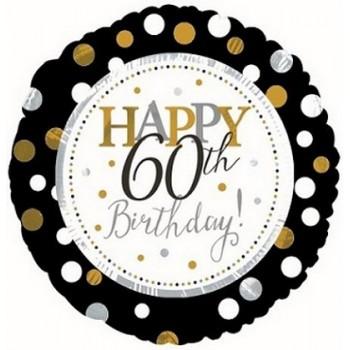 Palloncino Mylar 45 cm. 60° Age Happy Birthday