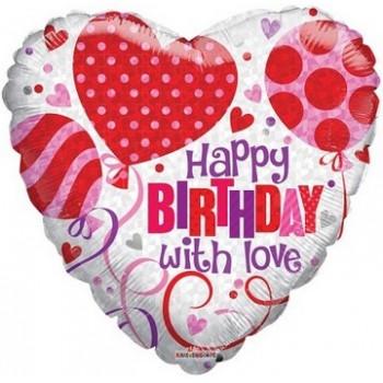 Palloncino Mylar 45 cm. C - Happy Birthday with Love